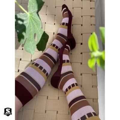 Steunkousen Indie stripes, roze/rood/goud