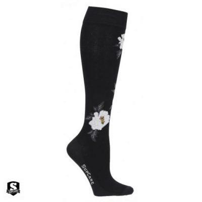 Steunkousen zwart met witte rozen